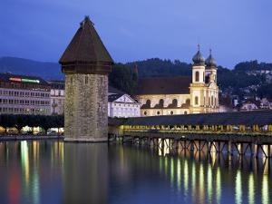 Kapellbrucke (Covered Wooden Bridge) Over the River Reuss, Lucerne (Luzern), Switzerland by Gavin Hellier