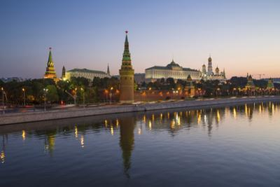 Kremlin Churches and Towers from Moscow River Bridge, Moscow, Russia
