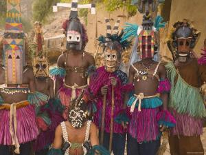 Masked Ceremonial Dogon Dancers, Sangha, Dogon Country, Mali by Gavin Hellier
