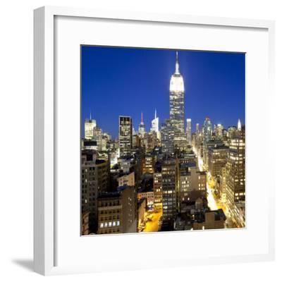 Midtown Manhattan, Elevated Dusk View Towards the Empire State Building, Manhattan, New York City,
