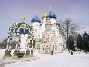 Monastery of the Christian St. Sergius Cathedral of the Assumption in Snow, Moscow Area, Russia by Gavin Hellier