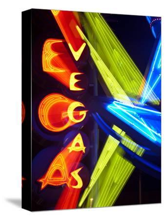 Neon Vegas Sign at Night, Downtown, Freemont East Area, Las Vegas, Nevada, USA, North America