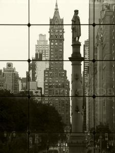 New York City, Manhattan, Statue of Christopher Columbus in Columbus Circle Viewed Through a Glass  by Gavin Hellier
