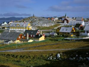 Our Saviour's Church and Jonathon Petersen Memorial, Nuuk (Godthab), Greenland, Polar Regions by Gavin Hellier