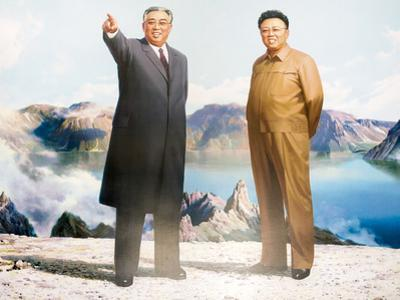 Painting of Kim Jong Il and Kim Il Sung, Pyongyang, Democratic People's Republic of Korea, N. Korea by Gavin Hellier