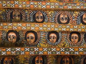 Painting of the Winged Heads of 80 Ethiopian Cherubs, Debre Berhan Selassie Church, Ethiopia by Gavin Hellier
