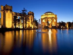 Palace of Fine Arts Illuminated at Night, San Francisco, California, United States of America, Nort by Gavin Hellier