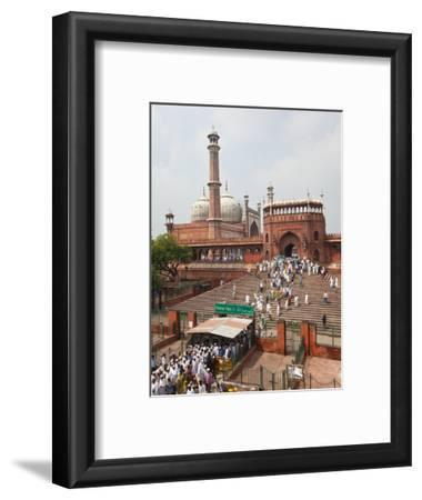 People Leaving the Jama Masjid (Friday Mosque) after the Friday Prayers, Old Delhi, Delhi, India, A