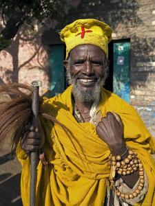Portait of a Holy Man on Pilgrimage in Gonder, Gonder, Ethiopia, Africa by Gavin Hellier