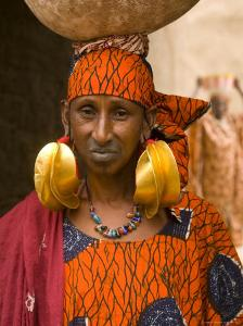 Portrait of a Fulani Woman Wearing Traditional Gold Earrings, Mopti, Mali, West Africa, Africa by Gavin Hellier