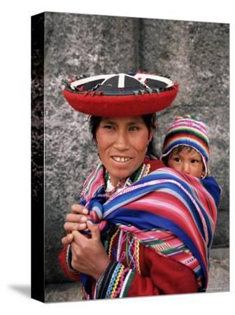 Portrait of a Local Woman in Traditional Dress, Carrying Her Baby on Her Back, Near Cuzco, Peru