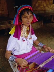 Portrait of a 'Long Necked' Padaung Tribe Woman Weaving on a Hand Held Loom, Mae Hong Son Province by Gavin Hellier