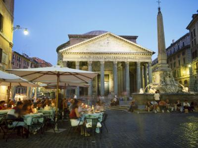 Restaurants Under the Ancient Pantheon in the Evening, Rome, Italy by Gavin Hellier