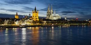 River Rhine, and Cathedral (Dom), Cologne (Koln), North Rhine Westphalia, Germany by Gavin Hellier
