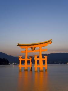 Shinto Shrine Illuminated at Dusk, Island of Honshu, Japan by Gavin Hellier