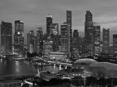 Singapore, Singapore Skyline Financial District Illuminated at Dusk, Asia