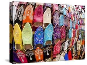 Soft Leather Moroccan Slippers in the Souk, Medina, Marrakesh, Morocco, North Africa, Africa by Gavin Hellier