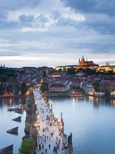 St Vitus Cathedral, Charles Bridge, River Vltava, UNESCO World Heritage Site, Prague Czech Republic by Gavin Hellier