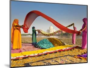 Taj Mahal, UNESCO World Heritage Site, across Yamuna River, Women Drying Colourful Saris, Agra, Utt by Gavin Hellier