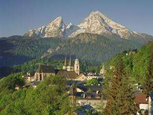 Town and Mountain View, Berchtesgaden, Bavaria, Germany, Europe by Gavin Hellier
