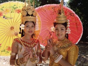 Two Traditional Cambodian Apsara Dancers, Siem Reap Province, Cambodia by Gavin Hellier