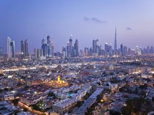 United Arab Emirates, Dubai, Skyline of Modern Skyscrapers Including the Burj Khalifa on Sheikh Zay by Gavin Hellier