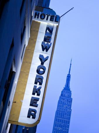 USA, New York City, Manhattan, New Yorker Hotel and Empire State Building