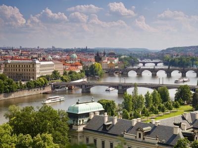 View of the River Vltava and Bridges, Prague, Czech Republic, Europe by Gavin Hellier