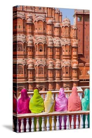 Women in Bright Saris in Front of the Hawa Mahal (Palace of the Winds)