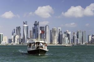 New Skyline of the West Bay Central Financial District of Doha, Qatar, Middle East by Gavin