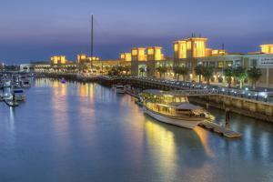 Souk Shark Mall and Kuwait Harbour, Illuminated at Dusk, Kuwait City, Kuwait, Middle East by Gavin