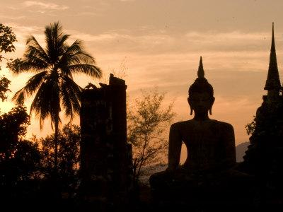 Buddha Statue and Sunset, Thailand