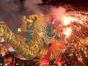 Dragon Performers at Chinese Thanksgiving Festival, Khon Kaen, Isan, Thailand by Gavriel Jecan