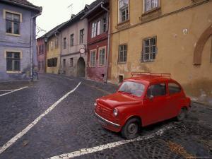 Village Roadway and Car, Sighishoara, Romania by Gavriel Jecan