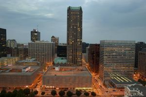Downtown St. Louis at night from rooftop by Gayle Harper