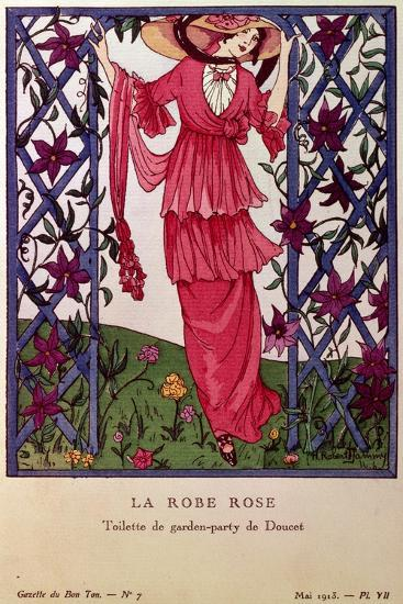 Gazette De Bon Ton: La Robe Rose, Garden Party Dress by Jacques Doucet, 1913--Giclee Print