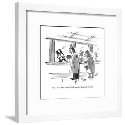 """Gee, these new twenties look just like Monopoly money."" - New Yorker Cartoon-Lee Lorenz-Framed Premium Giclee Print"
