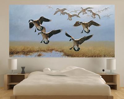 Geese Flying (Indoor/Outdoor) Vinyl Wall Mural--Wall Mural