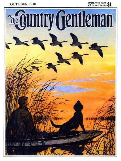 """Geese in Formation over Marsh,"" Country Gentleman Cover, October 1, 1930-Paul Bransom-Giclee Print"