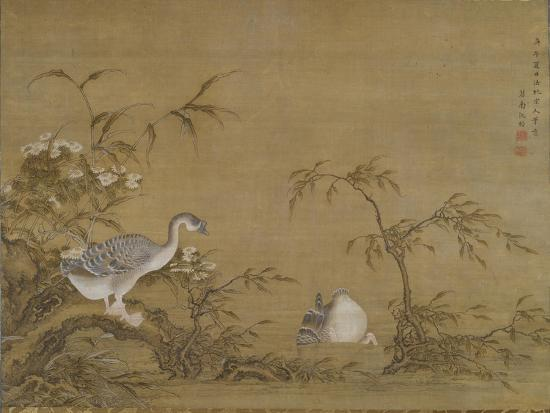 Geese on a Riverbank, Qing Dynasty (1644-1911), 1750- Shen Kai-Giclee Print