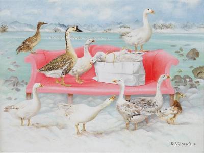 Geese on Pink Sofa, 2000-E.B. Watts-Giclee Print
