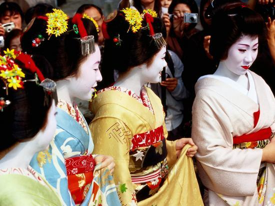Geisha and Maiko at Memorial for Poet Yoshii Isamu in Gion, Japan-Frank Carter-Photographic Print