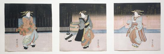 Geisha at Night Triptych, 1818-30-Toyokuni II-Giclee Print