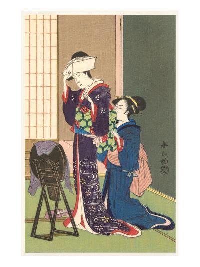 Geisha Being Dressed--Art Print