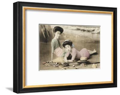 Geisha Girls at the Seaside, Japan--Framed Photographic Print