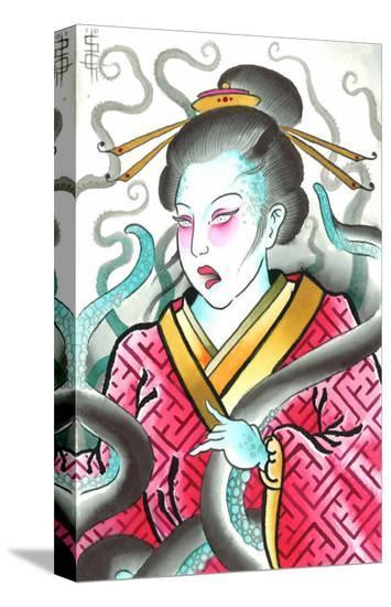 Geisha & Octopus-Samuel Gosson-Stretched Canvas Print