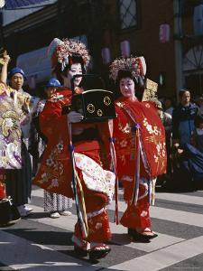 Geisha Parade, Geishas Dressed in Traditional Costume, Kimono, Kyoto, Honshu, Japan