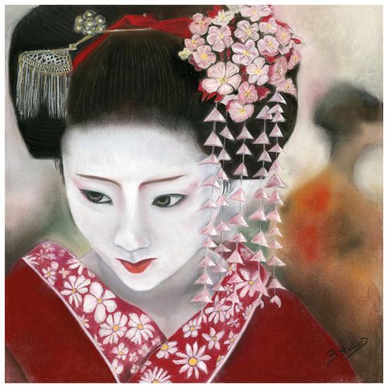Geisha Rouge a Gauche-B?atrice Hallier-Art Print