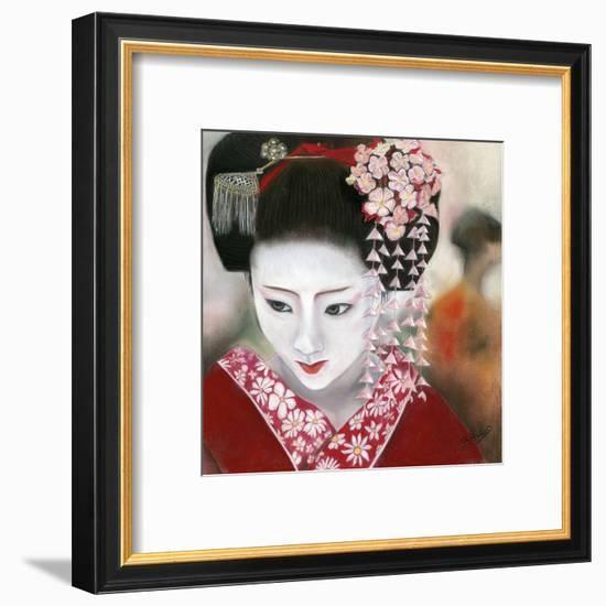 Geisha Rouge a Gauche-Béatrice Hallier-Framed Art Print
