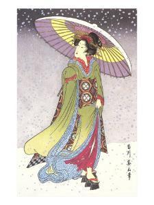Geisha with Umbrella in Snow